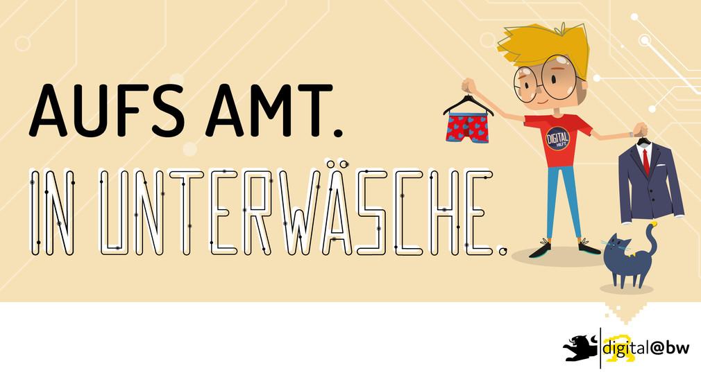 """Motiv """"Ab ins Büro in Unterwäsche"""" für digitale Behördengänge zur Kampagne """"Alles ist neu""""."""