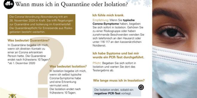 Neue Koronaregulierung für Quarantäne und Isolation