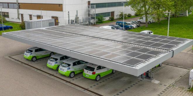 Pilotprojekt zur Kopplung von Solarenergie und Elektromobilität auf Parkplätzen